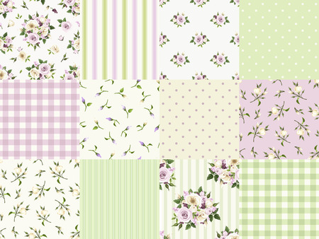 Illustration pour Vector set of seamless floral and geometric patterns for scrapbooking in green purple and white colors. - image libre de droit