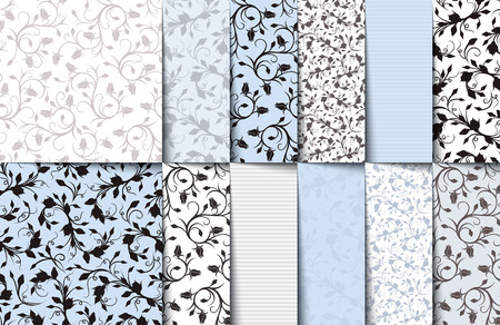 Photo for Set of blue, white and gray seamless floral patterns.  - Royalty Free Image