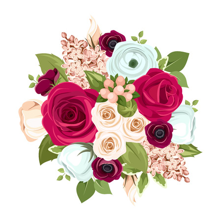 Vector bouquet with red, white and blue roses, lisianthuses, ranunculus and lilac flowers and green leaves.