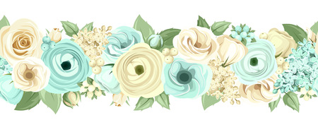 Ilustración de Vector horizontal seamless background with blue and white roses, lisianthuses, ranunculus, lilac flowers and green leaves. - Imagen libre de derechos