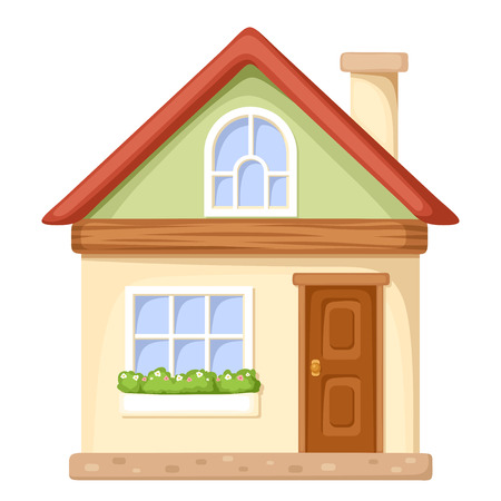 Illustration for Vector illustration of a cartoon house isolated on a white background. - Royalty Free Image