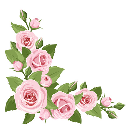 Ilustración de background with pink roses and green leaves. - Imagen libre de derechos