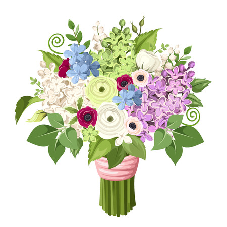Illustration for bouquet of purple, white, blue and green lilac flowers, anemones, ranunculus flowers and leaves. - Royalty Free Image