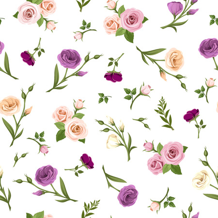 Photo for Vector seamless pattern with pink, purple, orange and white roses and lisianthus flowers on a white background. - Royalty Free Image