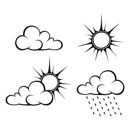 Illustration pour Vector black contours of weather symbols: clouds, sun and rain. - image libre de droit