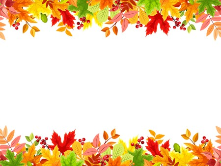 Vector horizontal seamless frame with colorful autumn leaves on a white background.