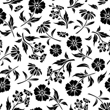 Illustration pour Vector seamless pattern with black flowers and leaves on a white background. - image libre de droit
