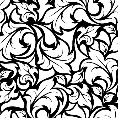 Illustration for Vector vintage seamless black and white floral pattern. - Royalty Free Image
