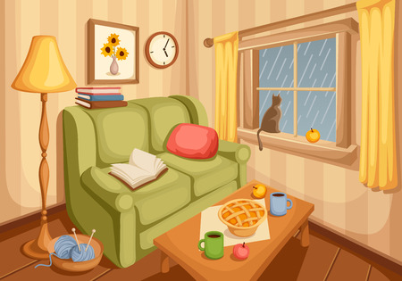 Illustration for Vector illustration of cozy autumn living room with rain outside the window. - Royalty Free Image