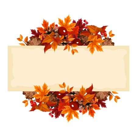 Foto de Vector card with autumn leaves and berries. - Imagen libre de derechos