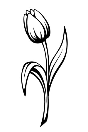 Illustration pour Vector black contour of a tulip flower isolated on a white background. - image libre de droit