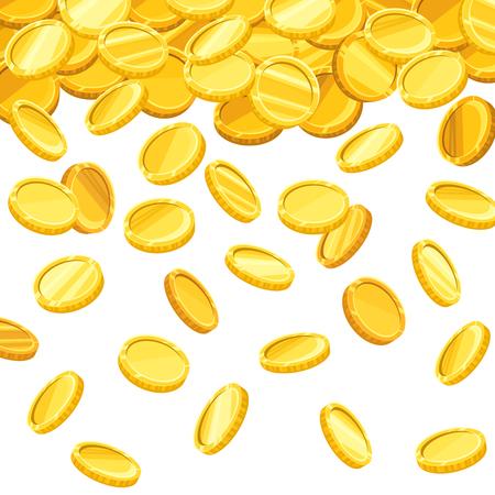 Illustration pour Vector background with falling golden coins. - image libre de droit