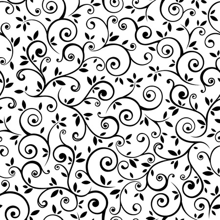 Illustration pour Vintage seamless black and white floral pattern. Vector illustration. - image libre de droit