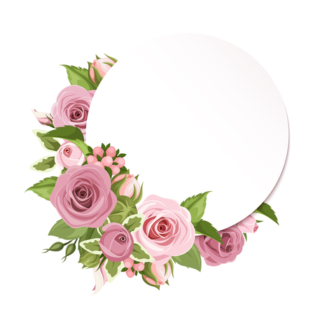 Illustration pour Vector circle background with pink roses and green leaves. - image libre de droit