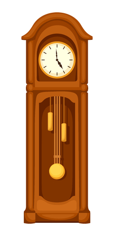 Illustration for Vector vintage longcase grandfather clock isolated on a white background. - Royalty Free Image