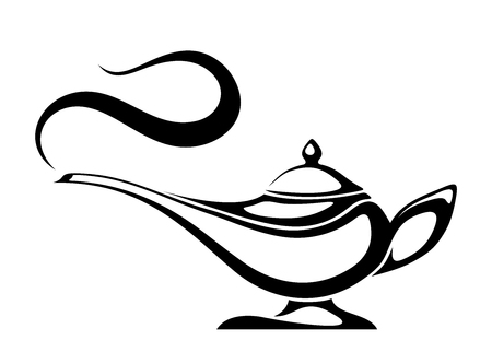 Illustrazione per Black silhouette of an Arabic genie lamp. - Immagini Royalty Free