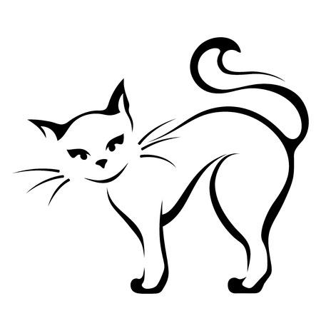 Ilustración de Vector black and white illustration of a cat. - Imagen libre de derechos