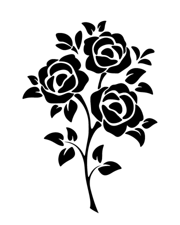 Illustration pour Vector black silhouette of roses isolated on a white background. - image libre de droit