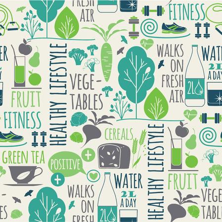 Ilustración de Healthy lifestyle seamless background.Elements for design - Imagen libre de derechos