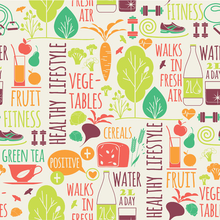 Foto de Healthy lifestyle seamless background.Elements for design - Imagen libre de derechos