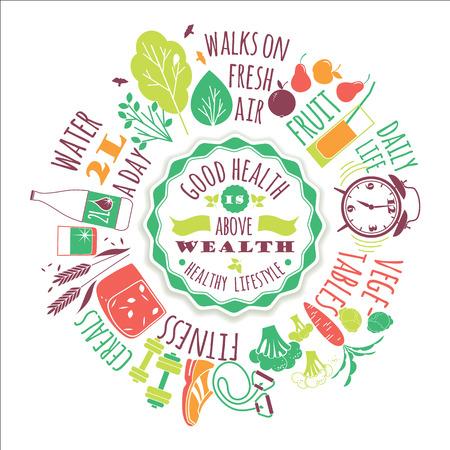 Ilustración de Healthy lifestyle vector illustration with typography. Design elements for a poster, flyer, graphic module. - Imagen libre de derechos