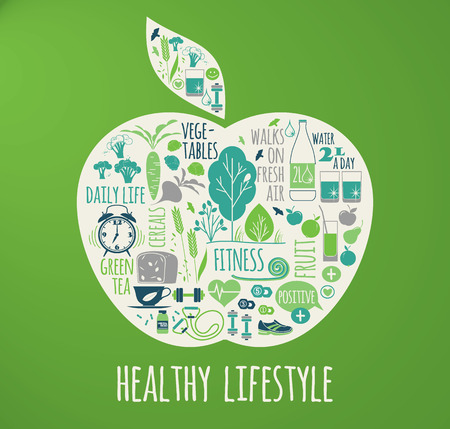 Photo for Healthy lifestyle vector illustration in the shape of apple on plaid background. - Royalty Free Image