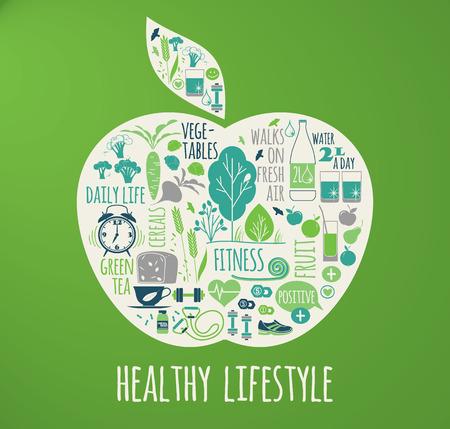 Photo pour Healthy lifestyle vector illustration in the shape of apple on plaid background. - image libre de droit