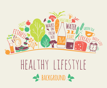 Foto de Healthy lifestyle vector illustration. Design elements. - Imagen libre de derechos