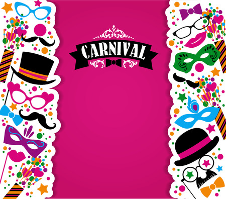 Illustration pour Celebration festive background with carnival icons and objects. Vector illustration - image libre de droit
