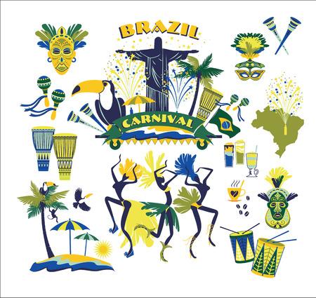 Illustration pour Illustration of traditional Brazilian Carnival. Vector background.Design element. - image libre de droit