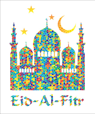Illustration for Eid Al Fitr. Vector Illustration.Colorful mosaic background. - Royalty Free Image