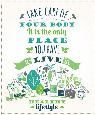 Foto de Vector illustration of Healthy lifestyle. Elements for design - Imagen libre de derechos