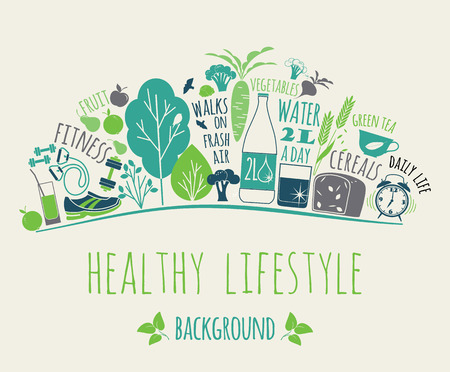 Photo pour illustration of Healthy lifestyle Elements - image libre de droit
