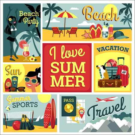 Illustration pour I love summer. Vector modern flat design illustration of traditional summer vacation. - image libre de droit