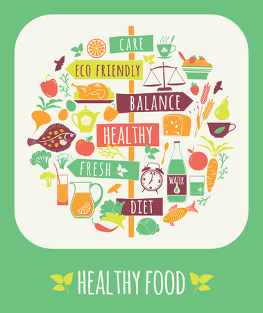 Photo pour Vector illustration of Healthy Food. Elements for design - image libre de droit