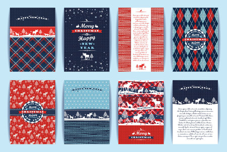Illustration for Christmas and New Year Set. Plaid and knitted backgrounds. Vector Design Templates Collection for Banners, Flyers, Placards, Posters and other use. - Royalty Free Image