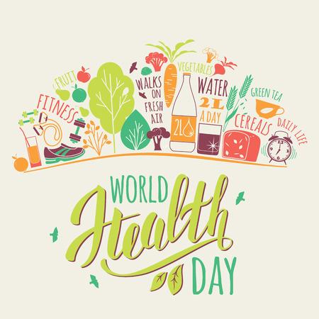 Ilustración de World health day concept with healty lifestyle illustration. - Imagen libre de derechos