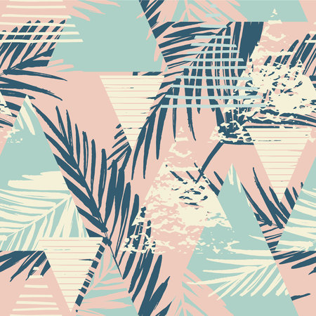 Ilustración de Seamless exotic pattern with palm leaves on geometric background . Vector illustration. - Imagen libre de derechos