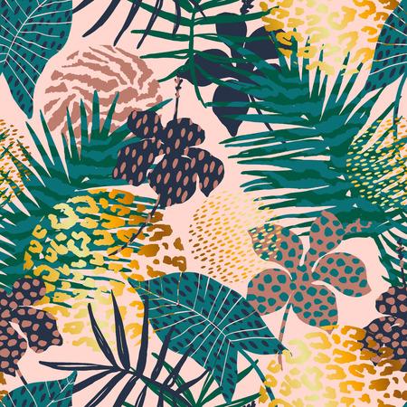 Ilustración de Trendy seamless exotic pattern with palm, animal prints and hand drawn textures. - Imagen libre de derechos