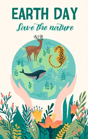 Ilustración de Earth Day with animals. Vector template for card, poster, banner, flyer Design element - Imagen libre de derechos