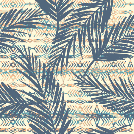 Illustration for Tribal ethnic seamless pattern with palm leaves. - Royalty Free Image