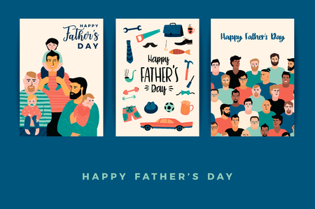 Illustration pour Happy Fathers Day. Vector templates. - image libre de droit