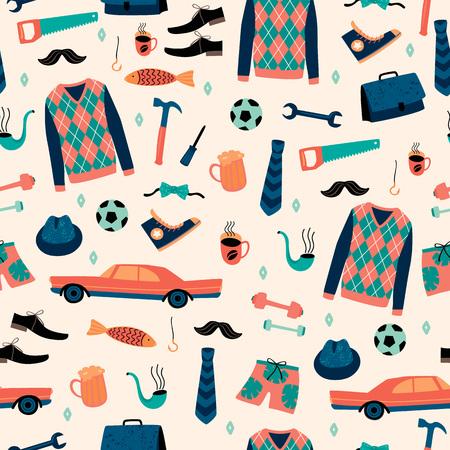 Ilustración de Vector seamless pattern with mans things. Happy Fathers Day concept. - Imagen libre de derechos
