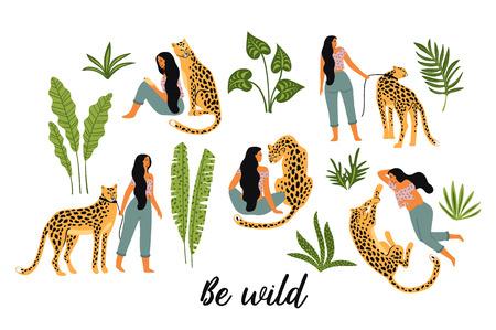 Ilustración de Be wild. Vector illustrations of woman with leopard and tropical leaves. - Imagen libre de derechos