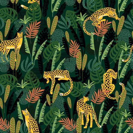 Ilustración de Vestor seamless pattern with leopards and tropical leaves. - Imagen libre de derechos