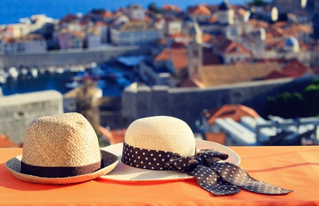 Photo for two hats on vacation in Europe, luxury vacation concept - Royalty Free Image