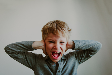 Foto de agressive angry conflict child exhausted tired overload - Imagen libre de derechos