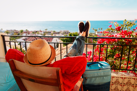 Photo pour young man tourist relax on scenic balcony terrace - image libre de droit