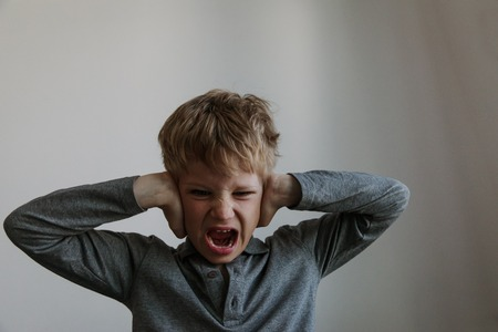 Photo for agressive angry conflict child exhausted tired overload - Royalty Free Image