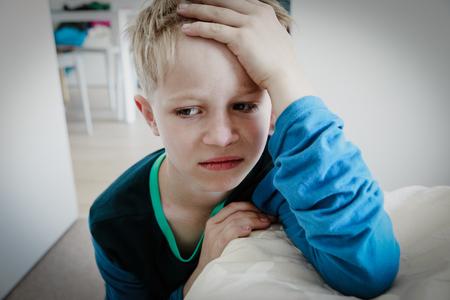 Photo pour sad child, stress and depression, agressive behaviour at home - image libre de droit